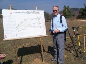 Dr. Larry Schwab with UXO LAO Map